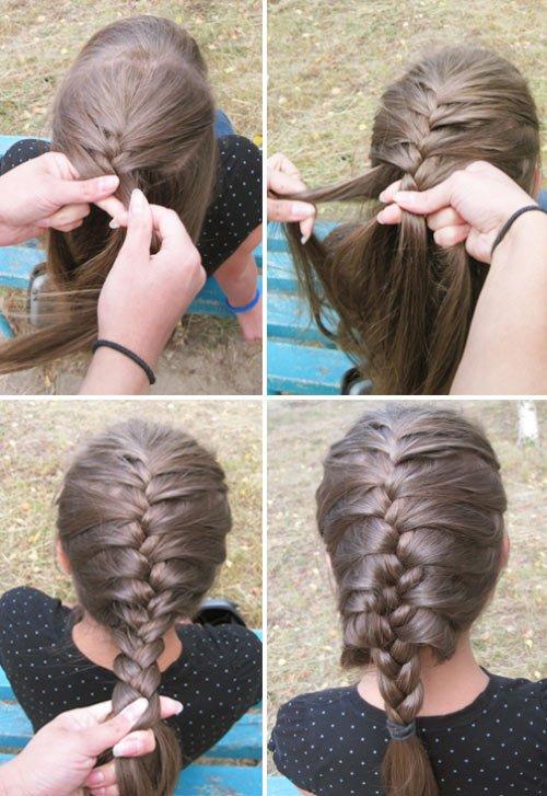Плетение кос с пошаговым колосок