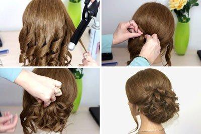 Вечерняя причёска на средние волосы в домашних условиях фото пошагово