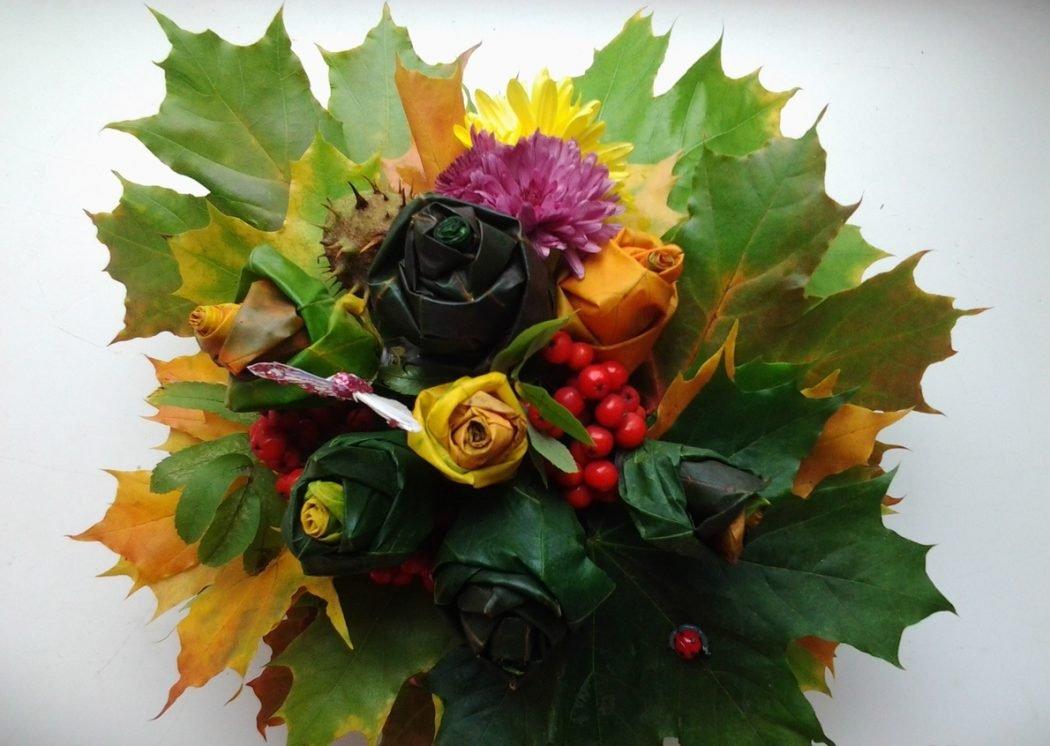 Осенний букет своими руками для детского сада  478