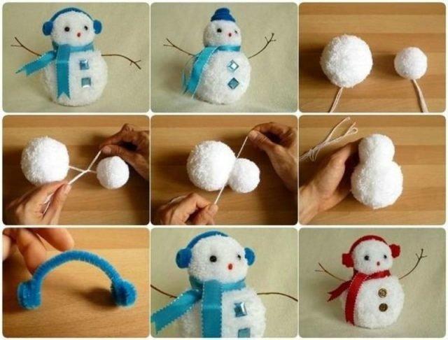 Igrushki-iz-pomponov-3-e1509976223867 Снеговик своими руками на праздник Новый год