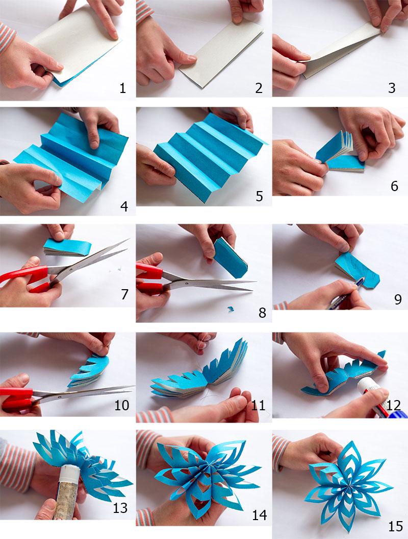 Как сделать красивые снежинки объемные из бумаги