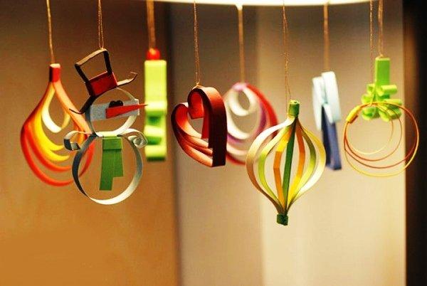 Елочные игрушки своими руками на новый год из бумаги