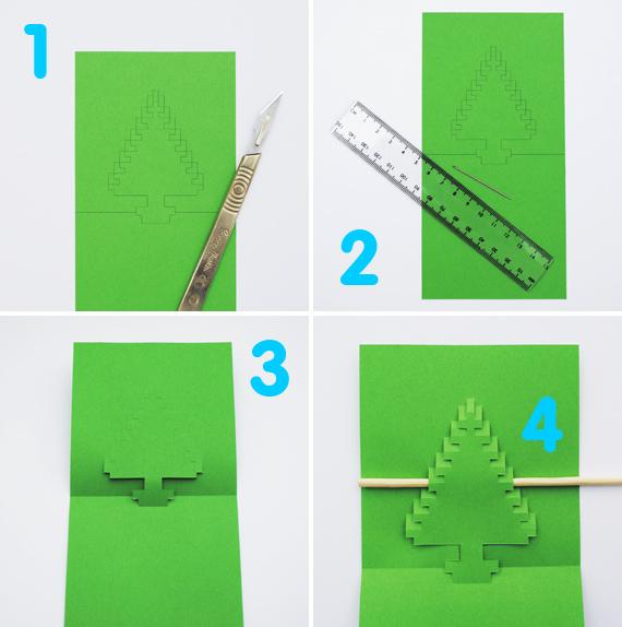 Как сделать новогодние открытки своими руками из бумаги схема