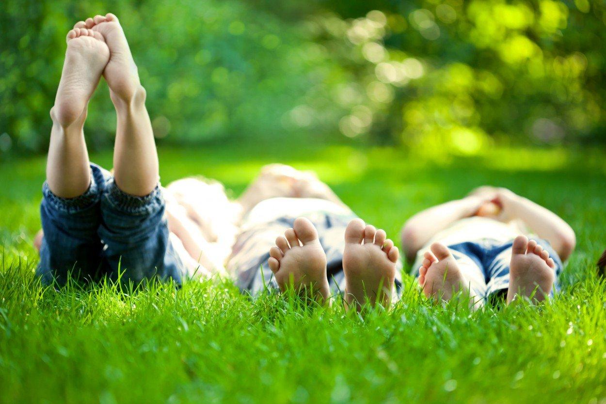 люди лежат на траве