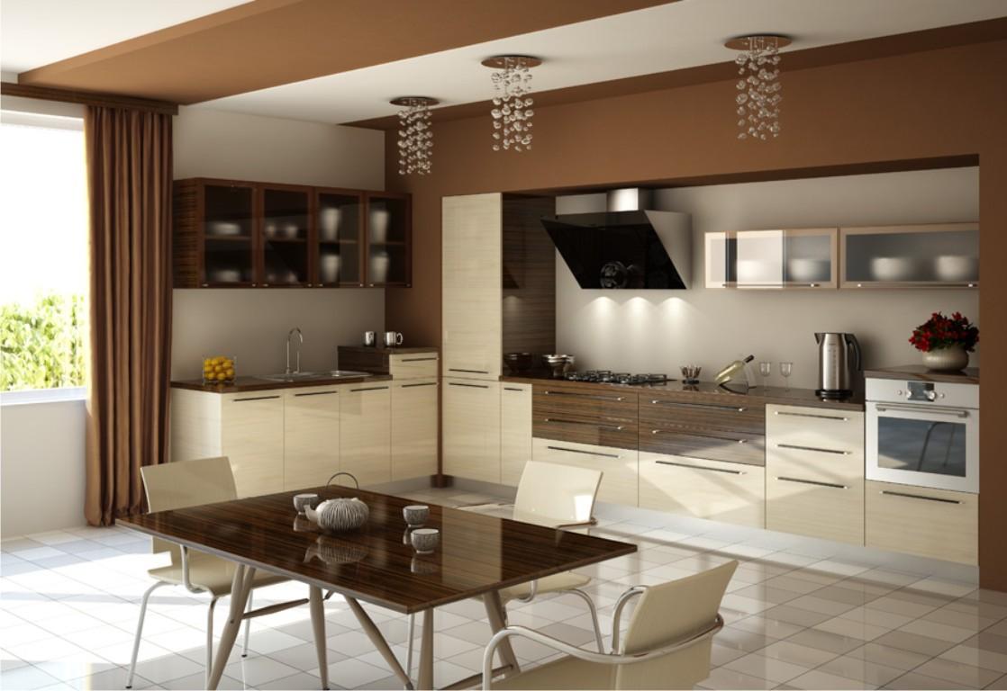 интерьер кухни в коричневых тонах