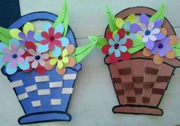 корзинки с цветами из цветной бумаги на 8 марта