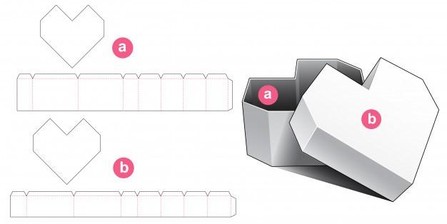 Коробка в форме сердца с крышкой вырезать шаблон | Премиум векторы